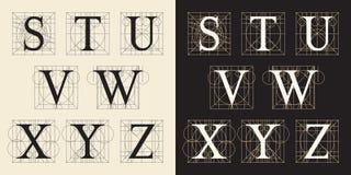 Конструирующ инициалы, винтажный стиль, письма s - z Стоковое Изображение RF