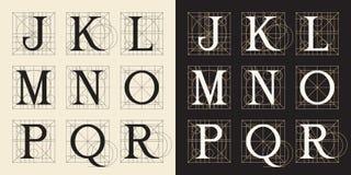 Конструирующ инициалы, винтажный стиль, помечает буквами j - r Стоковое Изображение RF