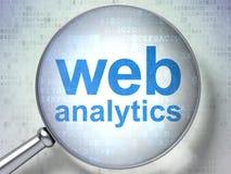 Конструктивная схема веб-дизайна: Аналитик сети с оптически стеклом иллюстрация вектора