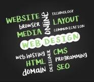 Конструктивная схема веб-дизайна на черной доске иллюстрация штока