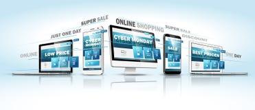 Конструктивная схема веб-дизайна продажи понедельника кибер онлайн вектор бесплатная иллюстрация