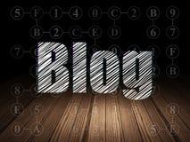 Конструктивная схема веб-дизайна: Блог в комнате grunge темной стоковое фото