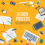 Конструктивная схема веб-дизайна с объектами и приборами Стоковое Изображение RF