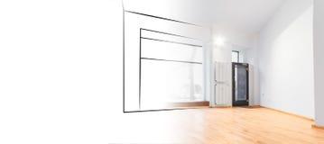 Конструктивная схема дизайна интерьера, эскиз магазина и фото Стоковые Фотографии RF