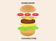 Конструктор гамбургера или бургера изолированный на предпосылке Стоковое Фото