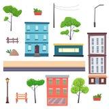 Конструктор города с элементами Дома на улице с дорогой, деревьями, стендом и фонариком иллюстрация штока