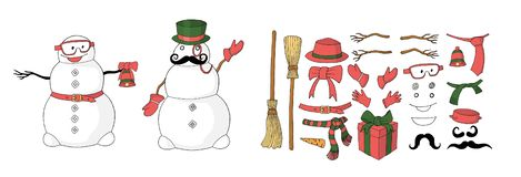 Конструктор снеговика для конструировать открытку в векторе бесплатная иллюстрация