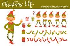 Конструктор характера эльфа рождества с частями тела в праздничных настоящих моментах костюма и праздника установил изолированный бесплатная иллюстрация