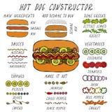 Конструктор хот-дога Комплект ингридиентов меню фаст-фуда Нарисованная рукой высококачественная чистая реалистическая иллюстрация иллюстрация штока