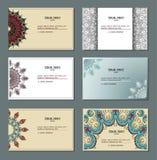 конструкции легко editable 3 собрания визитной карточки декоративный сбор винограда Стоковое Изображение RF