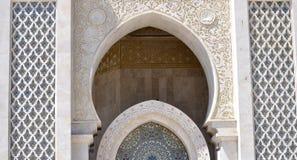 Конструкция аркады мечети Хасана II, Касабланки Стоковое Фото