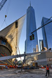 Конструкция всемирного торгового центра, Манхаттан, Нью-Йорк Стоковая Фотография
