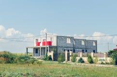 Конструкция дома газированных бетонных плит стоковое изображение rf