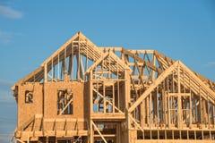 Конструкция дома крыши щипца конца-вверх деревянная Стоковые Изображения RF