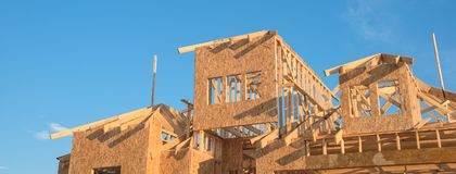 Конструкция дома крыши щипца конца-вверх деревянная Стоковое Фото