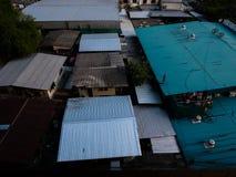 Конструкция жилищного строительства Таиланда винтажная голубая Стоковая Фотография RF