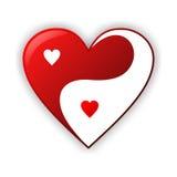 Конструкция иллюстрации сердца Yin yang Стоковое Изображение