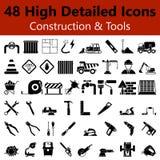 Конструкция и инструменты приглаживают значки иллюстрация штока