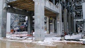 Конструкция металла будущего завода Индустриальная зона, оборудование переработки нефти, конца-вверх промышленных трубопроводов Стоковое Изображение