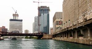 Конструкция на Реке Чикаго Стоковое Изображение