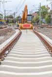 Конструкция нового железнодорожного пути Стоковое Изображение RF