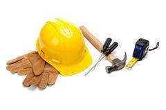 конструкция поставляет белого работника Стоковое фото RF