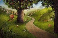 Конструкция природы - сад яблока Стоковая Фотография