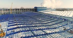 Конструкция современных фабрики или склада, современного промышленного экстерьера, панорамного взгляда, современного storehouse видеоматериал
