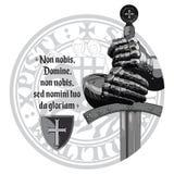 конструкция средневековая Крестоносцы knights перчатки, шпага, уплотнение Templars и молитва крестоносца бесплатная иллюстрация