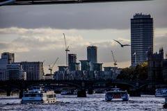 Конструкция Темзы реки Лондона на заходе солнца Стоковые Изображения RF