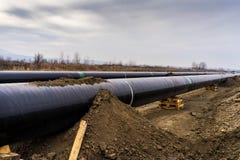 Конструкция трубопровода Trans газопровода адриатического - ВЫСТУЧАЙТЕ в никаком Стоковые Изображения