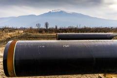Конструкция трубопровода Trans газопровода адриатического - ВЫСТУЧАЙТЕ в никаком Стоковые Фотографии RF