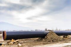Конструкция трубопровода Trans газопровода адриатического - ВЫСТУЧАЙТЕ в никаком Стоковое Фото