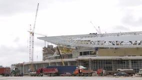 Конструкция футбольного стадиона место Кран башни на конструкции стадиона в России Подготовка для кубка мира акции видеоматериалы