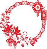 Конструкция хризантемы и китайских фонариков графическая Стоковое Изображение RF
