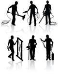 конструкция silhouettes работники бесплатная иллюстрация