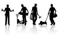 конструкция silhouettes работники Стоковые Фото