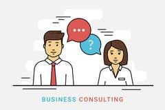 Консультации по бизнесу и корпоративное решение с речью вопроса и идеи клокочут на сером цвете бесплатная иллюстрация