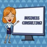 Консультации по бизнесу показа знака текста Схематическое фото смешивает практику женщины академичной теоретической экспертизы бе иллюстрация штока