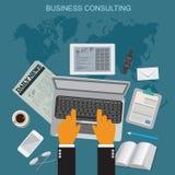 Консультации по бизнесу, плоская иллюстрация вектора, apps, знамя бесплатная иллюстрация
