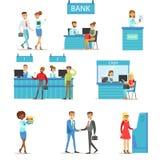 Консультирование финансовых дел профессионалов и клиентов банковских услуг различное, наличные деньги ATM манипуляция и другая от иллюстрация штока