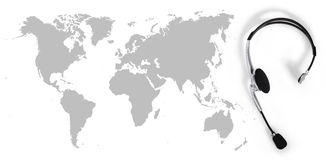 Контактируйте глобальную концепцию, шлемофон взгляд сверху и карту Стоковое Изображение