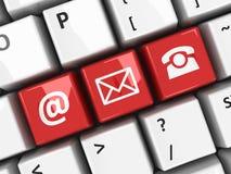 Контакт клавиатуры компьютера красный Стоковое Фото
