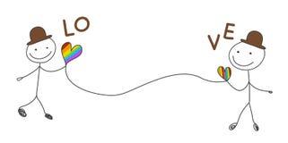 Контакт шляпы гомосексуалиста положенный парами коричневый с сердцем радуги для пар футболки конструирует или украшает вектор иллюстрация вектора