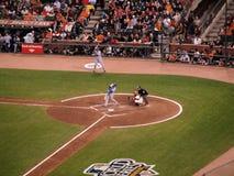 контакт batter бейсбола делает ренджеров стоковая фотография