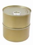 2 контейнера олова, консервы изолированные на белизне Стоковые Изображения