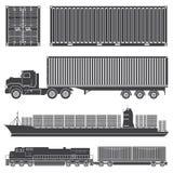 Контейнерный грузовой состав перевозит корабли на грузовиках Стоковые Изображения