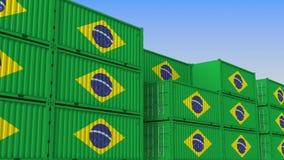 Контейнерный терминал вполне контейнеров с флагом Бразилии Бразильские экспорт или импорт связали перевод 3D иллюстрация вектора