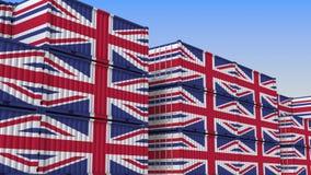 Контейнерный терминал вполне контейнеров с флагом Великобритании Великобританские экспорт или импорт связали перевод 3D иллюстрация штока