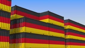 Контейнерный терминал вполне контейнеров с флагом Германии Немецкие экспорт или импорт связали перевод 3D бесплатная иллюстрация